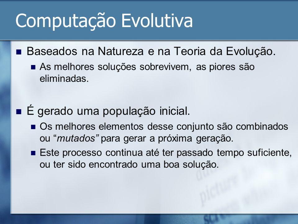 Computação Evolutiva Baseados na Natureza e na Teoria da Evolução. As melhores soluções sobrevivem, as piores são eliminadas. É gerado uma população i