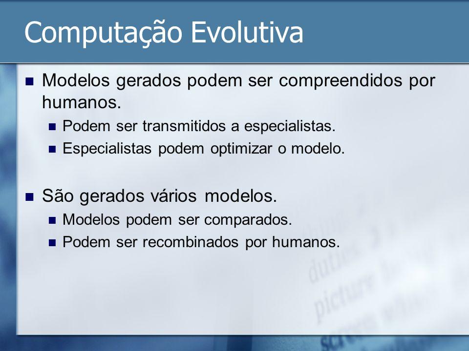 Computação Evolutiva Modelos gerados podem ser compreendidos por humanos. Podem ser transmitidos a especialistas. Especialistas podem optimizar o mode