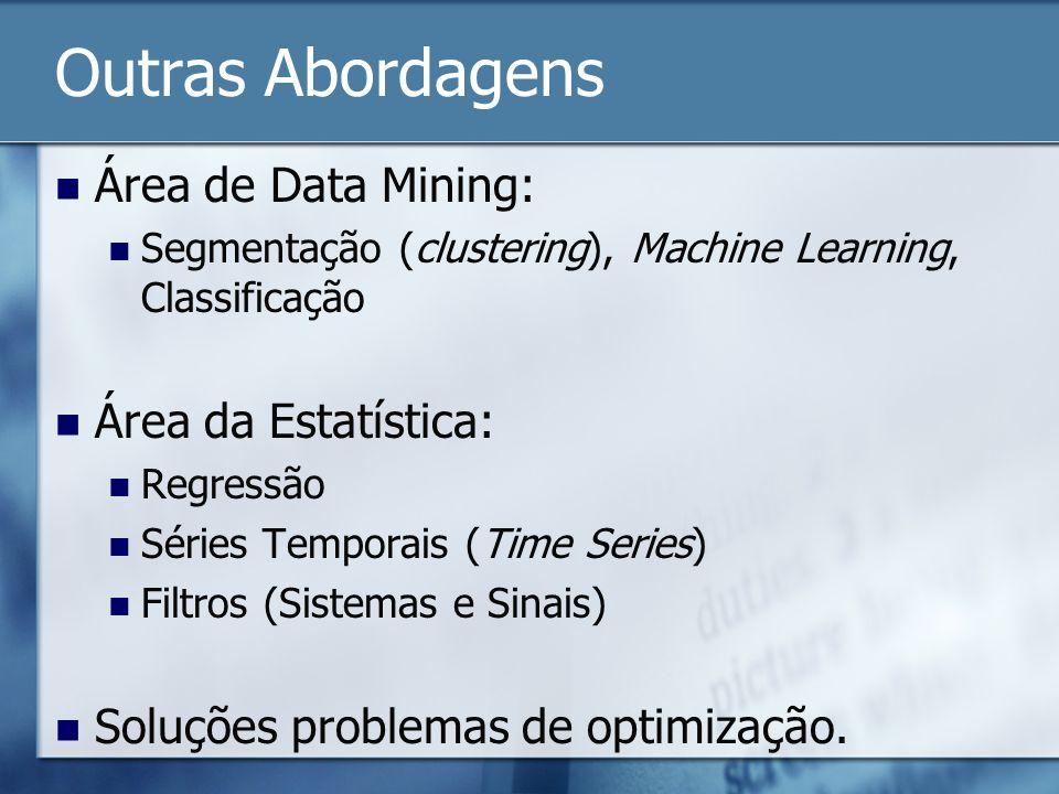 Outras Abordagens Área de Data Mining: Segmentação (clustering), Machine Learning, Classificação Área da Estatística: Regressão Séries Temporais (Time