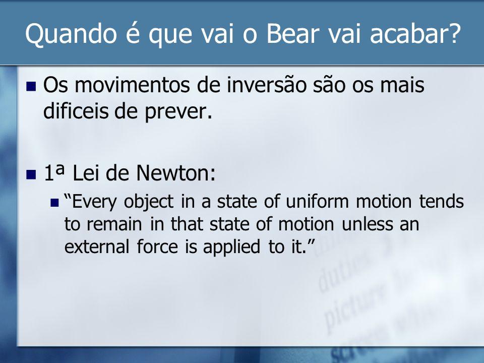 Quando é que vai o Bear vai acabar? Os movimentos de inversão são os mais dificeis de prever. 1ª Lei de Newton: Every object in a state of uniform mot
