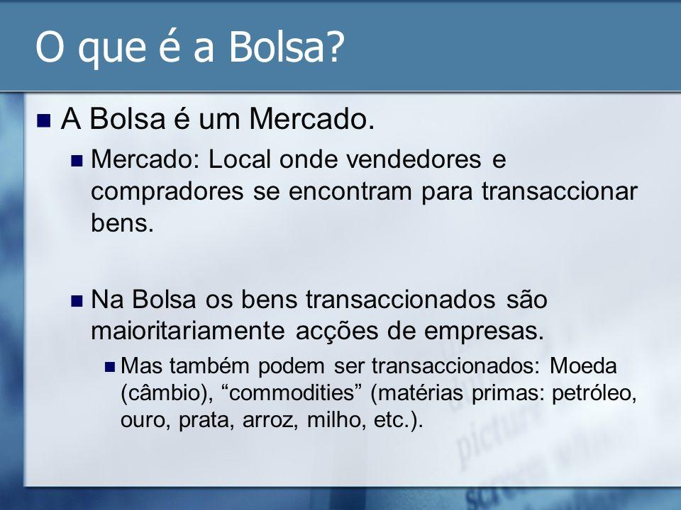 O que é a Bolsa? A Bolsa é um Mercado. Mercado: Local onde vendedores e compradores se encontram para transaccionar bens. Na Bolsa os bens transaccion