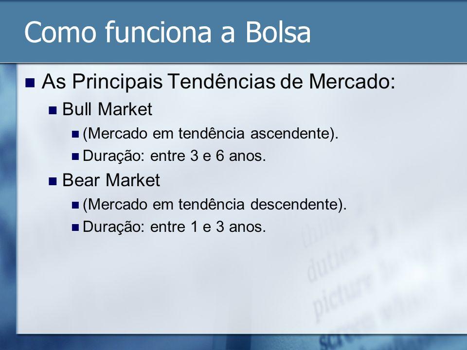 Como funciona a Bolsa As Principais Tendências de Mercado: Bull Market (Mercado em tendência ascendente). Duração: entre 3 e 6 anos. Bear Market (Merc