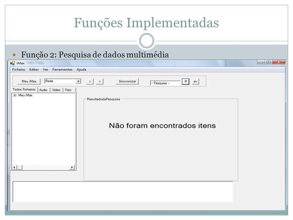 Funções Implementadas Função 2: Pesquisa de dados multimédia