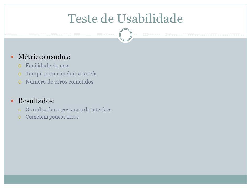 Teste de Usabilidade Métricas usadas: Facilidade de uso Tempo para concluir a tarefa Numero de erros cometidos Resultados: Os utilizadores gostaram da interface Cometem poucos erros