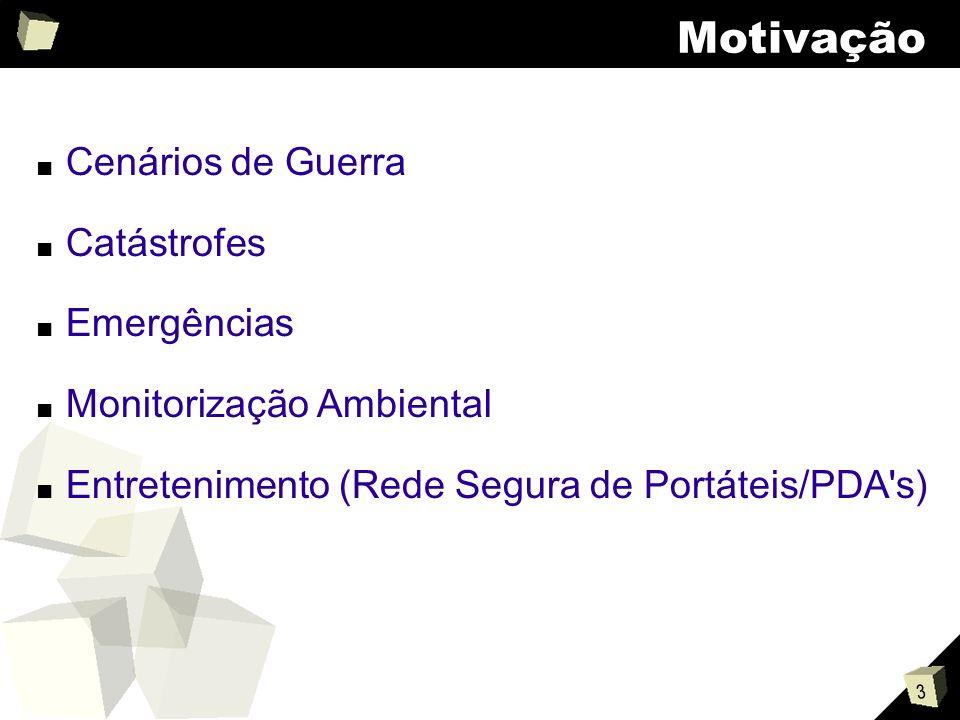 3 Motivação Cenários de Guerra Catástrofes Emergências Monitorização Ambiental Entretenimento (Rede Segura de Portáteis/PDA s)
