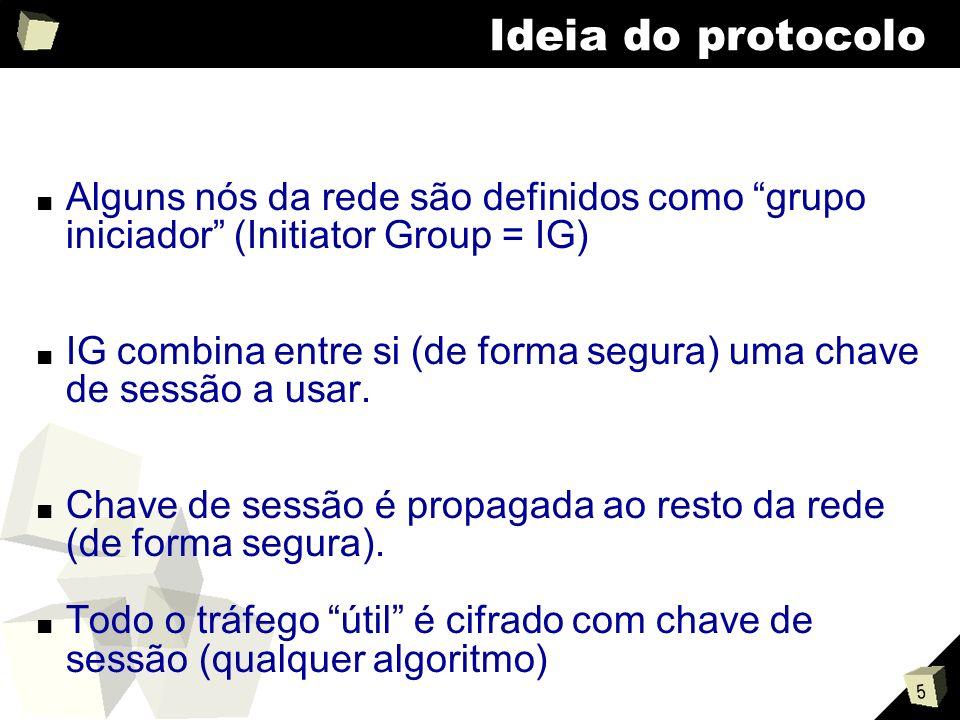 5 Ideia do protocolo Alguns nós da rede são definidos como grupo iniciador (Initiator Group = IG) IG combina entre si (de forma segura) uma chave de sessão a usar.