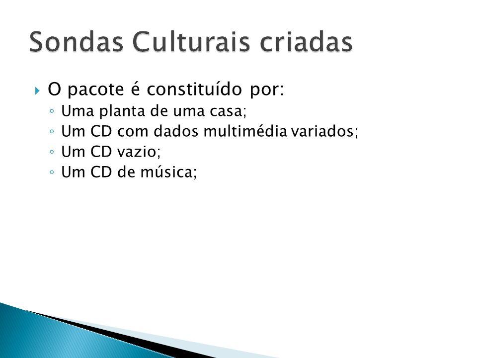 O pacote é constituído por: Uma planta de uma casa; Um CD com dados multimédia variados; Um CD vazio; Um CD de música;