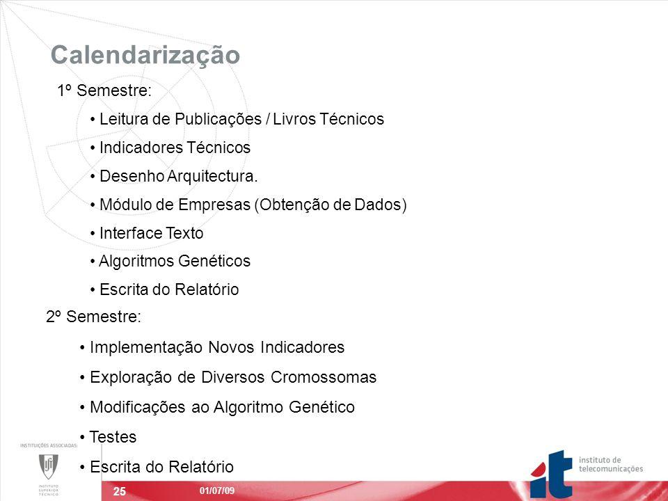 25 Calendarização 01/07/09 1º Semestre: Leitura de Publicações / Livros Técnicos Indicadores Técnicos Desenho Arquitectura.