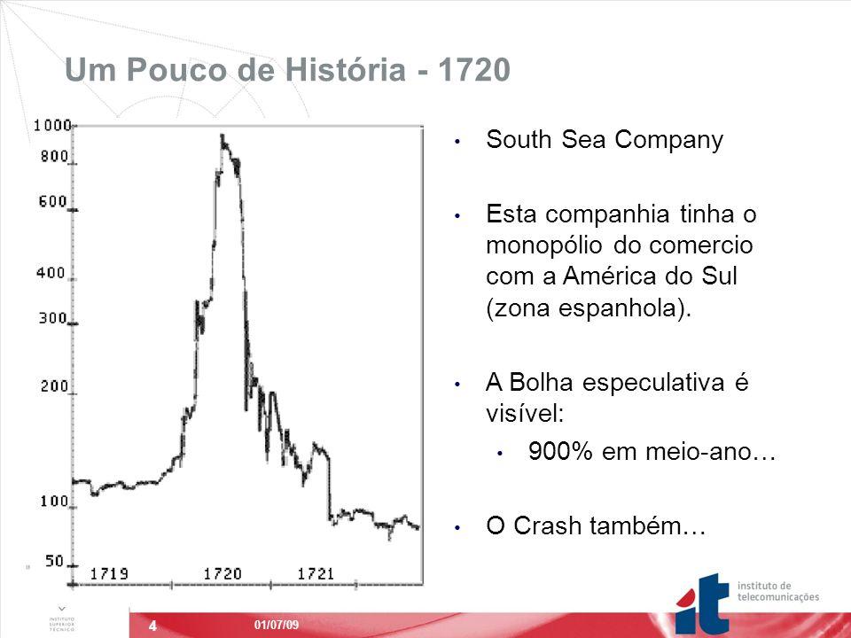 4 Um Pouco de História - 1720 STOCKS 01/07/09 South Sea Company Esta companhia tinha o monopólio do comercio com a América do Sul (zona espanhola).