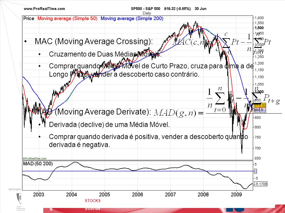 6 Exemplo de Estratégias de Investimento STOCKS 01/07/09 MAC (Moving Average Crossing): Cruzamento de Duas Médias Moveis.