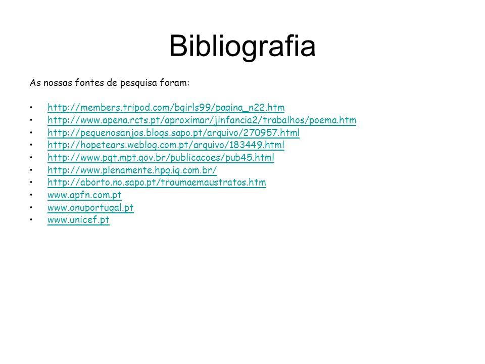 Bibliografia As nossas fontes de pesquisa foram: http://members.tripod.com/bgirls99/pagina_n22.htm http://www.apena.rcts.pt/aproximar/jinfancia2/traba