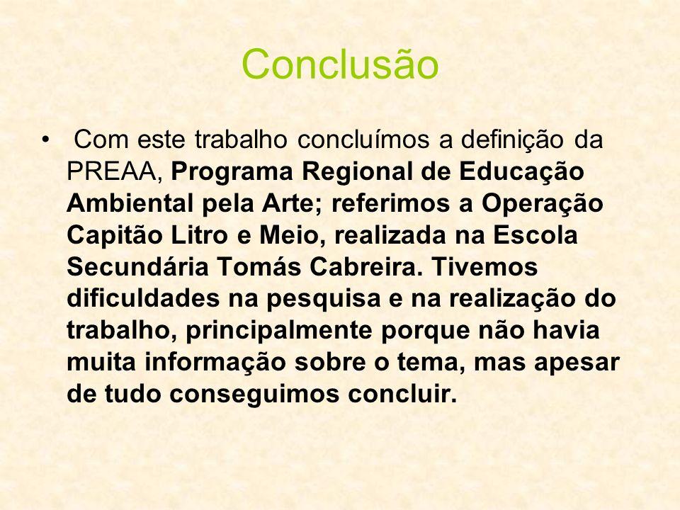 Conclusão Com este trabalho concluímos a definição da PREAA, Programa Regional de Educação Ambiental pela Arte; referimos a Operação Capitão Litro e M