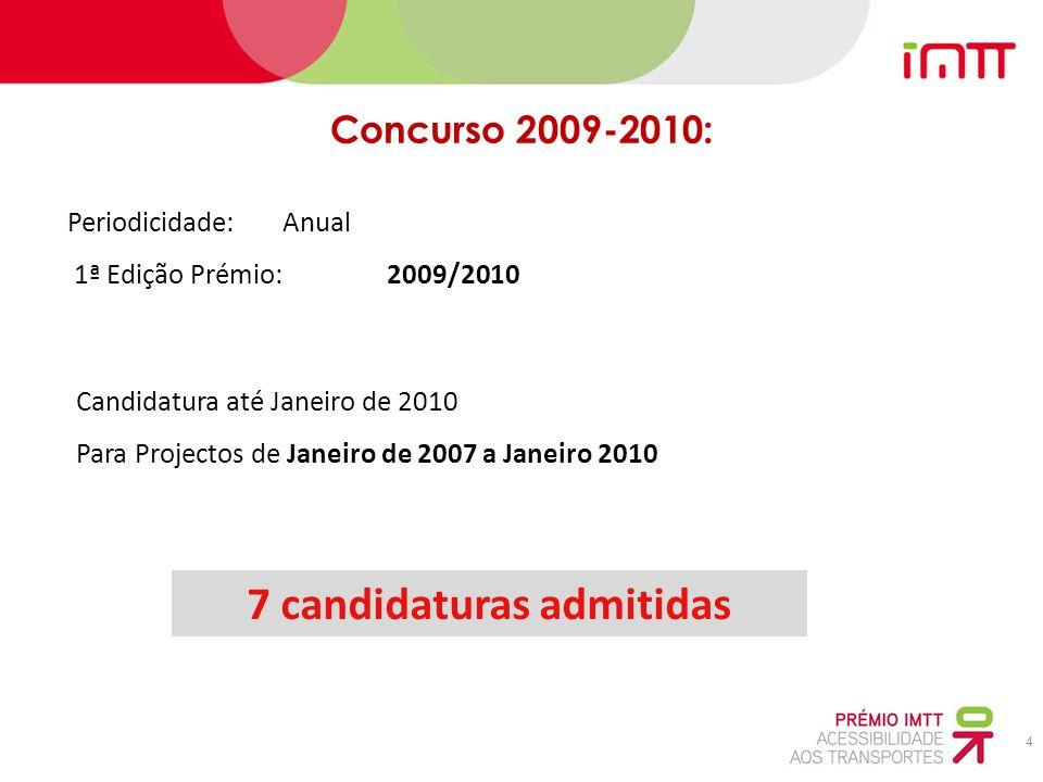 4 Periodicidade: Anual 1ª Edição Prémio: 2009/2010 Concurso 2009-2010: 7 candidaturas admitidas Candidatura até Janeiro de 2010 Para Projectos de Janeiro de 2007 a Janeiro 2010