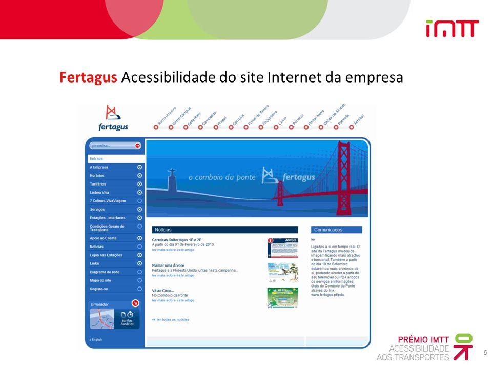 5 Fertagus Acessibilidade do site Internet da empresa