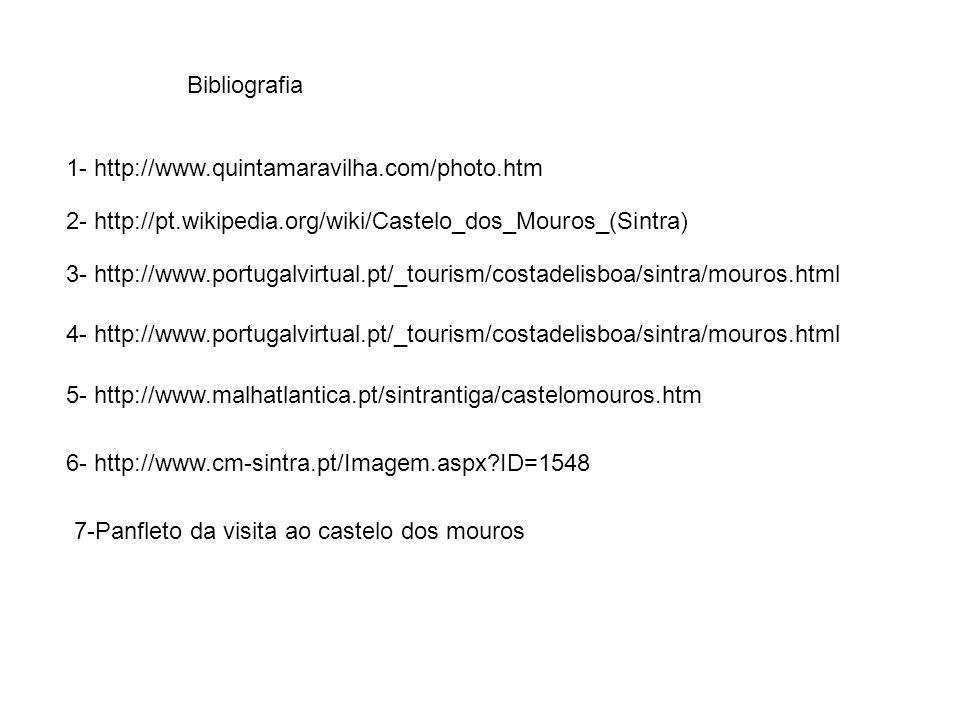 Bibliografia 1- http://www.quintamaravilha.com/photo.htm 3- http://www.portugalvirtual.pt/_tourism/costadelisboa/sintra/mouros.html 2- http://pt.wikip