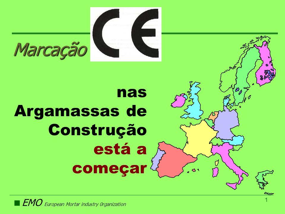 EMO European Mortar industry 0rganization 1 Marcação nas Argamassas de Construção está a começar