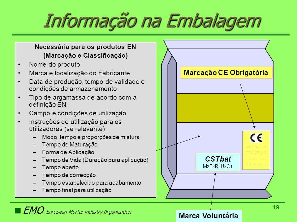 EMO European Mortar industry 0rganization 19 Informação na Embalagem Necessária para os produtos EN (Marcação e Classificação) Nome do produto Marca e