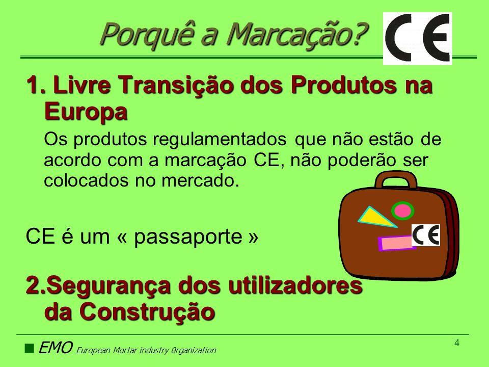 EMO European Mortar industry 0rganization 4 Porquê a Marcação? 1. Livre Transição dos Produtos na Europa Os produtos regulamentados que não estão de a