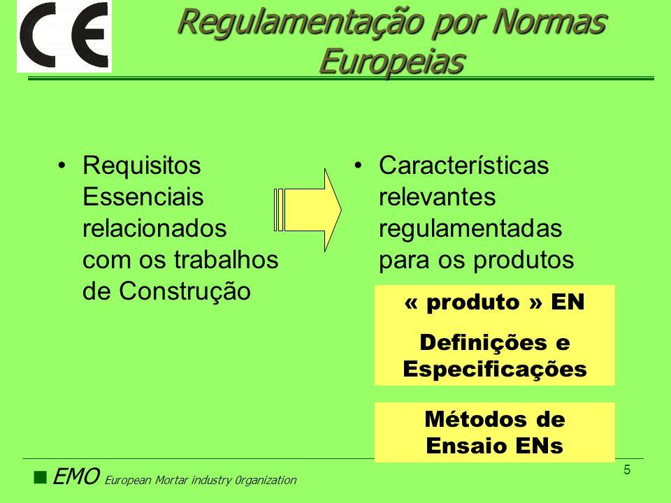EMO European Mortar industry 0rganization 5 Regulamentação por Normas Europeias Requisitos Essenciais relacionados com os trabalhos de Construção Cara