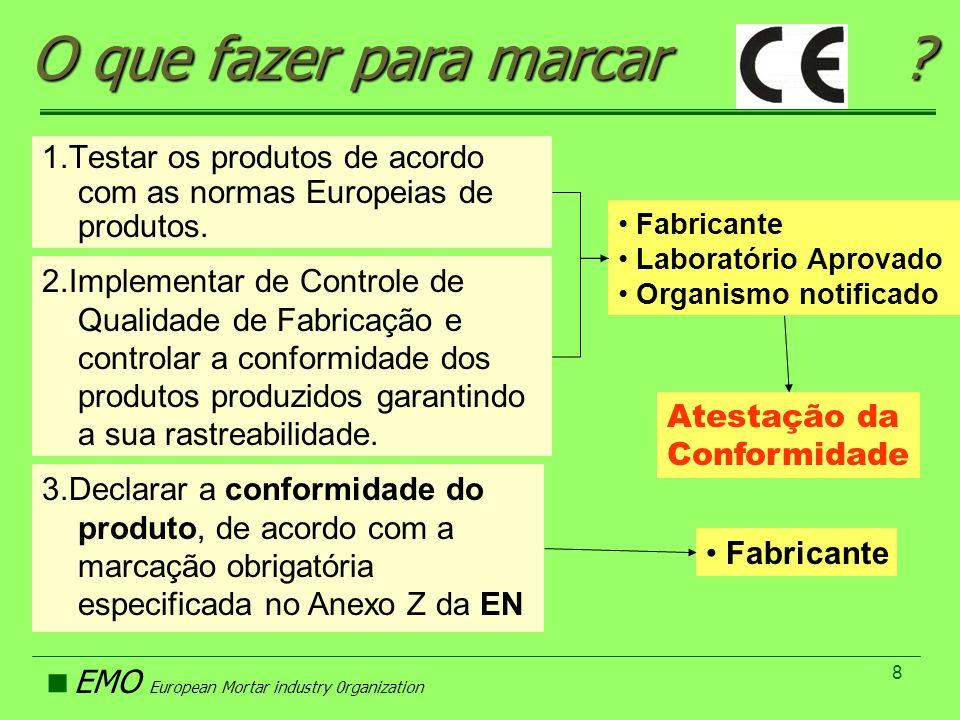 EMO European Mortar industry 0rganization 9 O Papel do Fabricante e Organismos Notificados Tipo de Argamassa Sistema de Atestação da Conformidade Tipo de Testes Iniciais Inspecção Inicial na fábrica Controle de Qualidade no Fabrico Colagem de Cerâmica 3 Argamassa de Reboco 4 Argamassa de Alvenaria 2+ Argamassa Pavimentação 4 Reparação de Betão 2+ SITE 2+Apr.Téc.