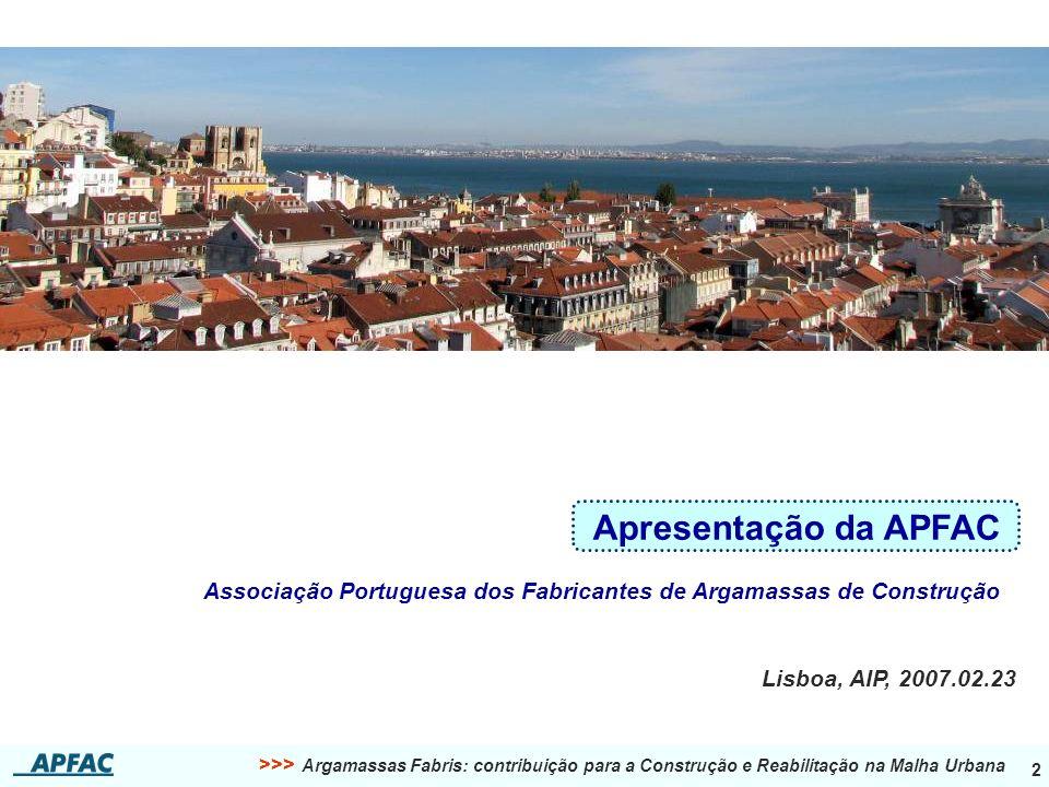 2 Apresentação da APFAC Associação Portuguesa dos Fabricantes de Argamassas de Construção Lisboa, AIP, 2007.02.23