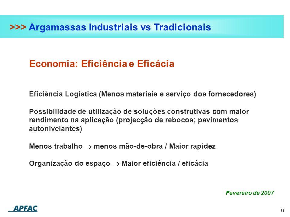 11 >>> Argamassas Industriais vs Tradicionais Economia: Eficiência e Eficácia Eficiência Logística (Menos materiais e serviço dos fornecedores) Possib