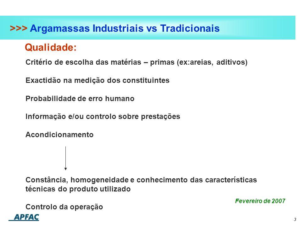 3 >>> Argamassas Industriais vs Tradicionais Qualidade: Fevereiro de 2007 Critério de escolha das matérias – primas (ex:areias, aditivos) Exactidão na