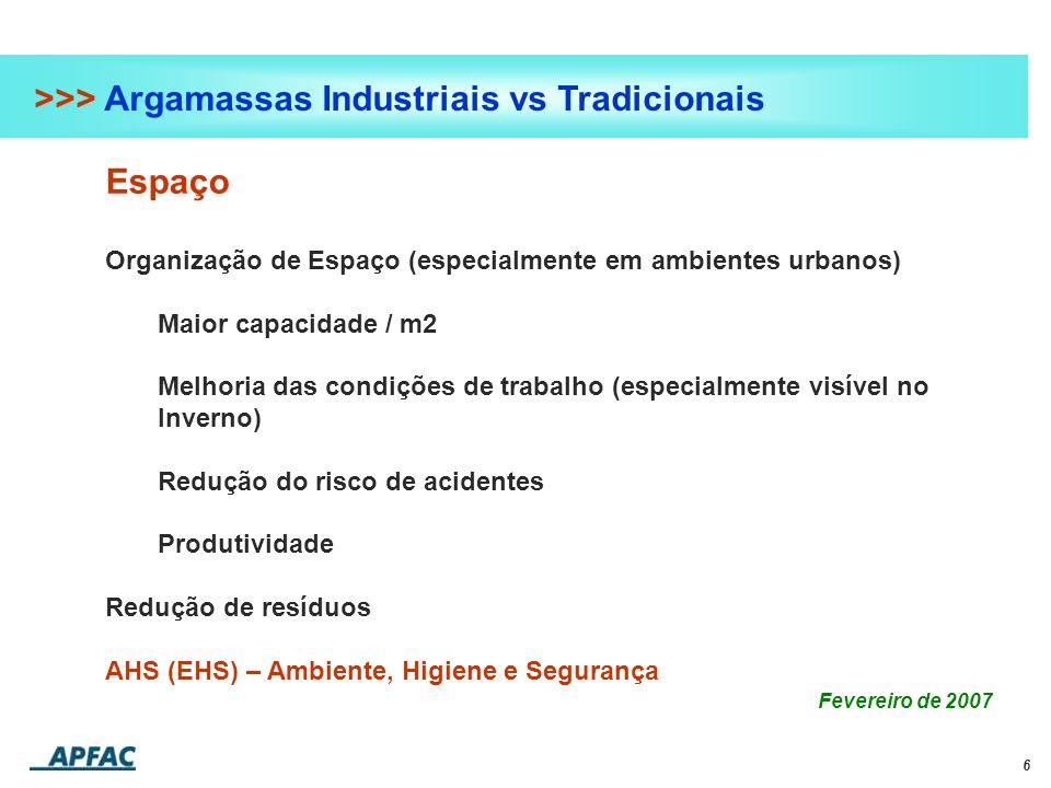 6 >>> Argamassas Industriais vs Tradicionais Espaço Organização de Espaço (especialmente em ambientes urbanos) Maior capacidade / m2 Melhoria das cond