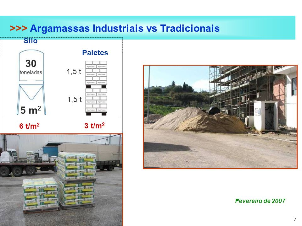 7 >>> Argamassas Industriais vs Tradicionais Fevereiro de 2007 30 toneladas 5 m 2 6 t/m 2 Silo Paletes 3 t/m 2 1,5 t
