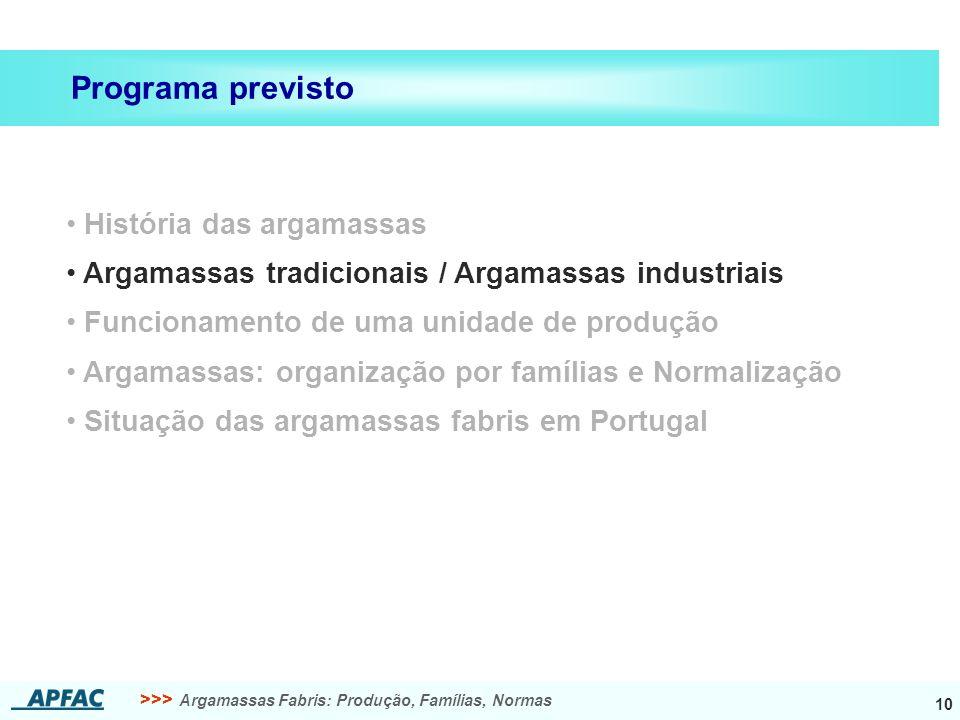 >>> Argamassas Fabris: Produção, Famílias, Normas 10 História das argamassas Argamassas tradicionais / Argamassas industriais Funcionamento de uma uni