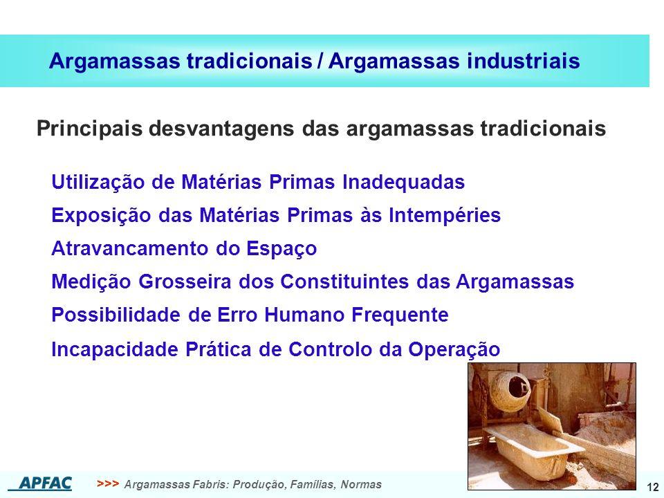 >>> Argamassas Fabris: Produção, Famílias, Normas 12 Argamassas tradicionais / Argamassas industriais Principais desvantagens das argamassas tradicion