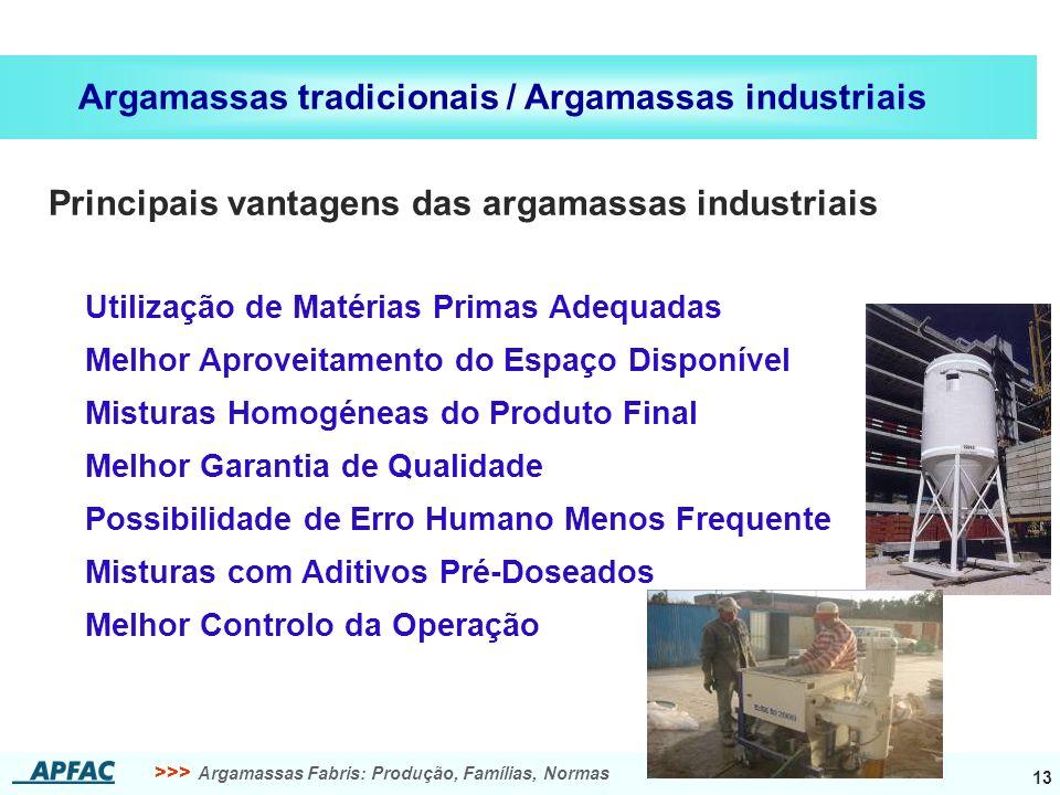 >>> Argamassas Fabris: Produção, Famílias, Normas 13 Argamassas tradicionais / Argamassas industriais Melhor Aproveitamento do Espaço Disponível Utili