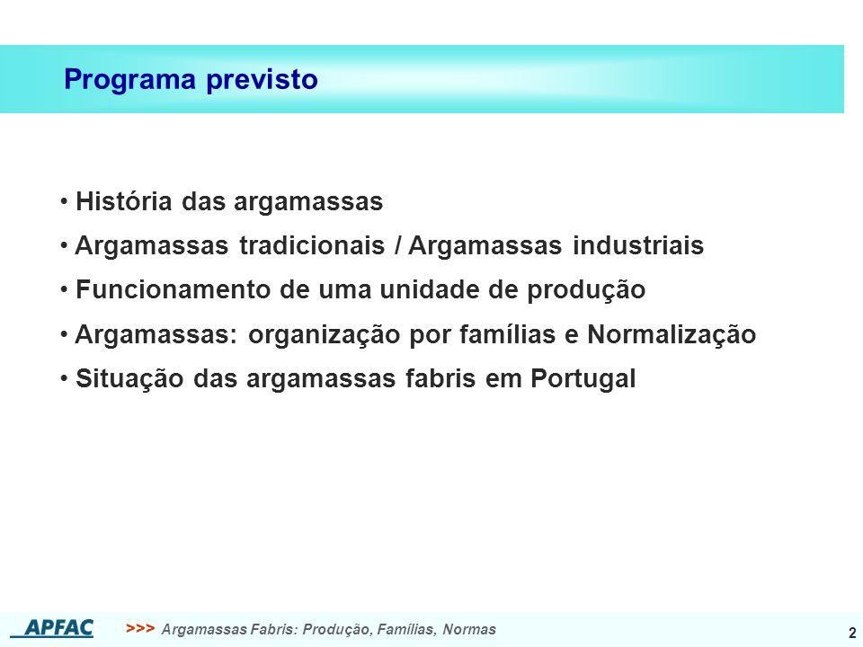 >>> Argamassas Fabris: Produção, Famílias, Normas 2 História das argamassas Argamassas tradicionais / Argamassas industriais Funcionamento de uma unid