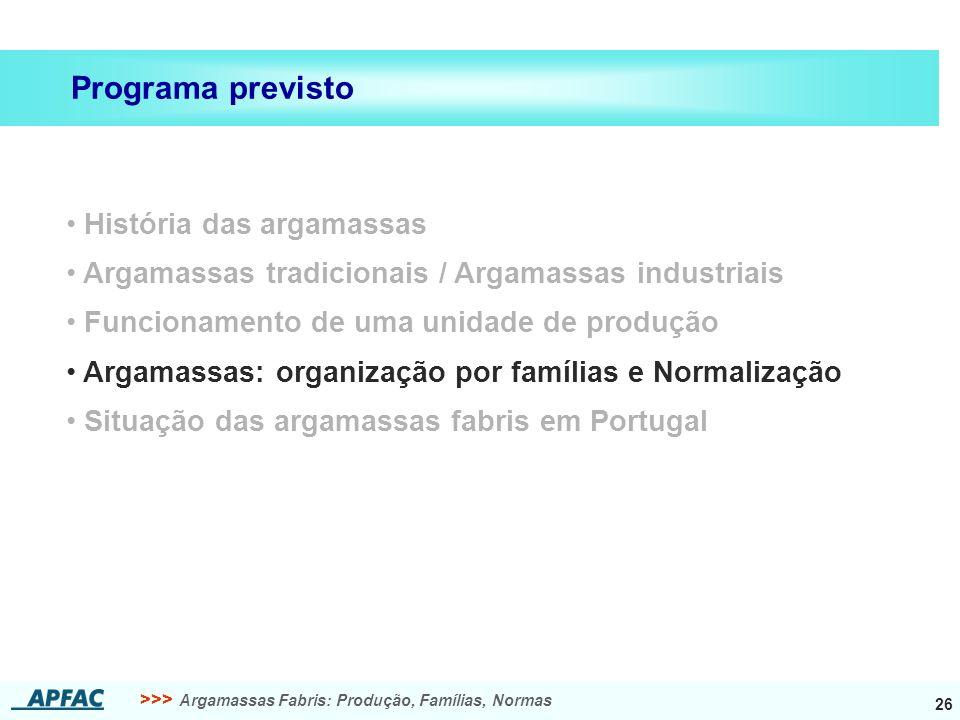 >>> Argamassas Fabris: Produção, Famílias, Normas 26 História das argamassas Argamassas tradicionais / Argamassas industriais Funcionamento de uma uni