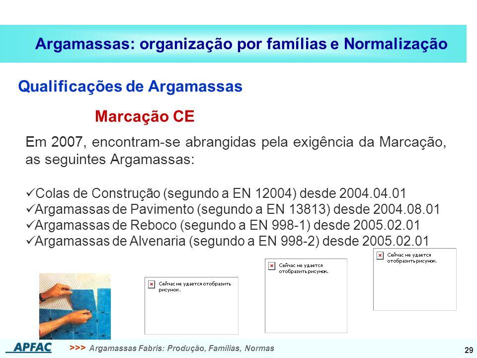 >>> Argamassas Fabris: Produção, Famílias, Normas 29 Argamassas: organização por famílias e Normalização Qualificações de Argamassas Em 2007, encontra