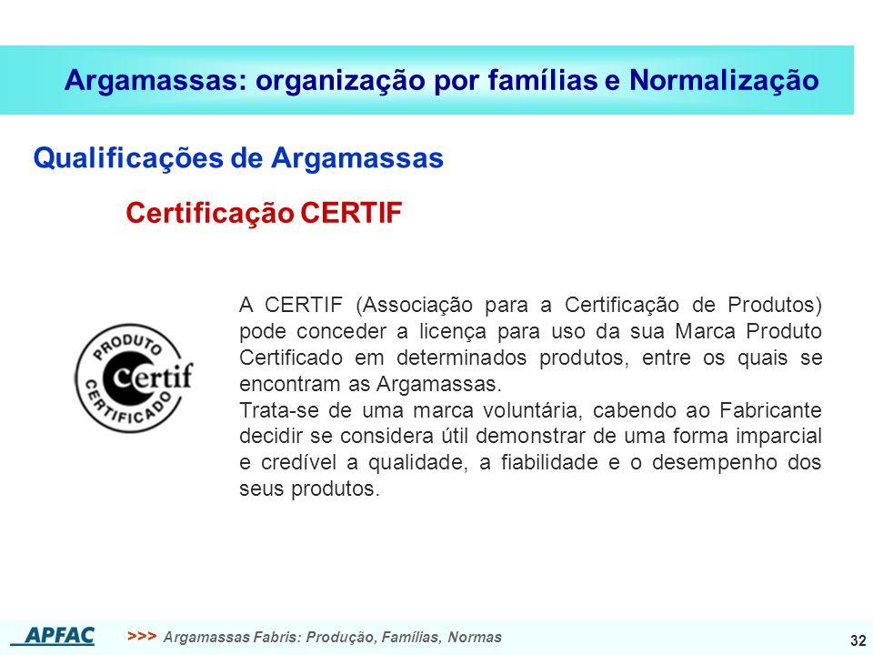 >>> Argamassas Fabris: Produção, Famílias, Normas 32 Argamassas: organização por famílias e Normalização Qualificações de Argamassas Certificação CERT