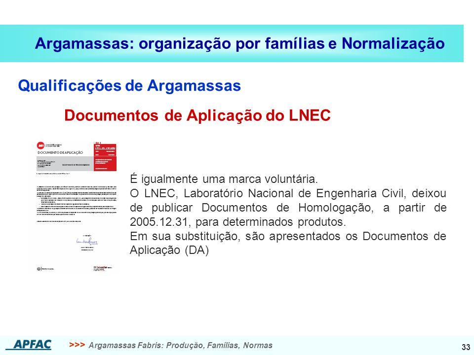 >>> Argamassas Fabris: Produção, Famílias, Normas 33 Argamassas: organização por famílias e Normalização Qualificações de Argamassas Documentos de Apl