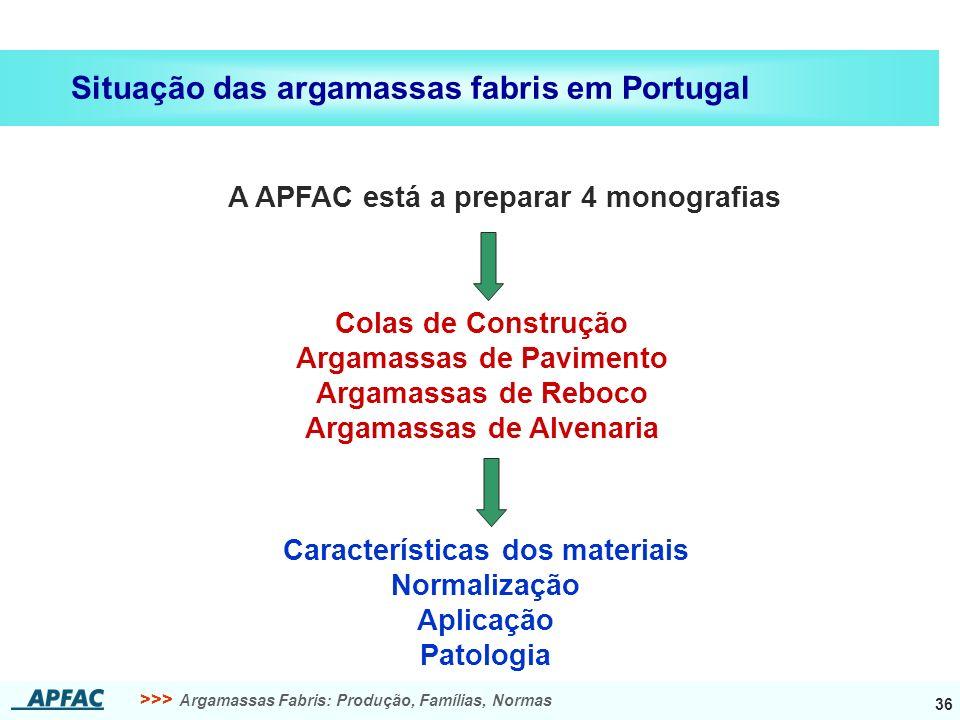 >>> Argamassas Fabris: Produção, Famílias, Normas 36 Situação das argamassas fabris em Portugal A APFAC está a preparar 4 monografias Colas de Constru