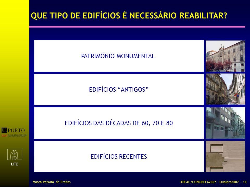 LFC Vasco Peixoto de FreitasAPFAC/CONCRETA2007 – Outubro2007 - 10 EDIFÍCIOS ANTIGOS EDIFÍCIOS RECENTES EDIFÍCIOS DAS DÉCADAS DE 60, 70 E 80 PATRIMÓNIO