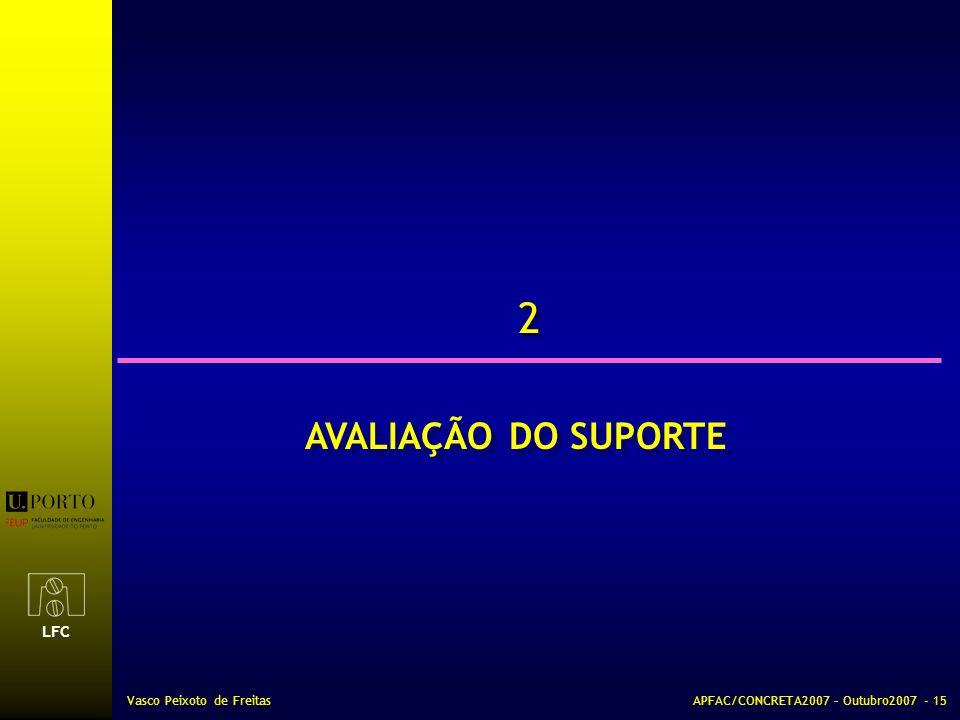 LFC Vasco Peixoto de FreitasAPFAC/CONCRETA2007 – Outubro2007 - 15 2 2 AVALIAÇÃO DO SUPORTE