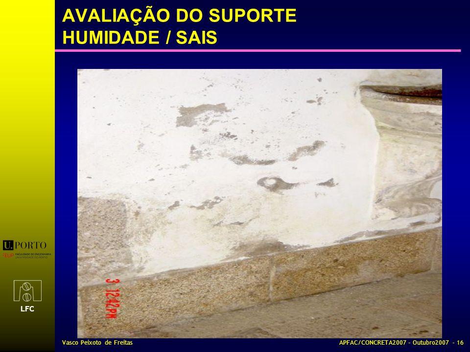 LFC Vasco Peixoto de FreitasAPFAC/CONCRETA2007 – Outubro2007 - 16 AVALIAÇÃO DO SUPORTE HUMIDADE / SAIS