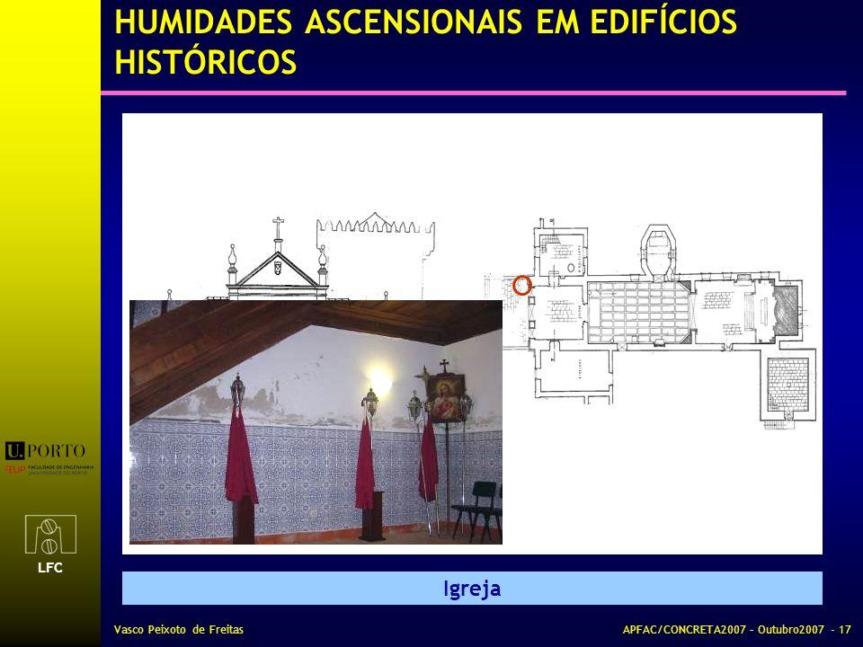 LFC Vasco Peixoto de FreitasAPFAC/CONCRETA2007 – Outubro2007 - 17 HUMIDADES ASCENSIONAIS EM EDIFÍCIOS HISTÓRICOS Igreja