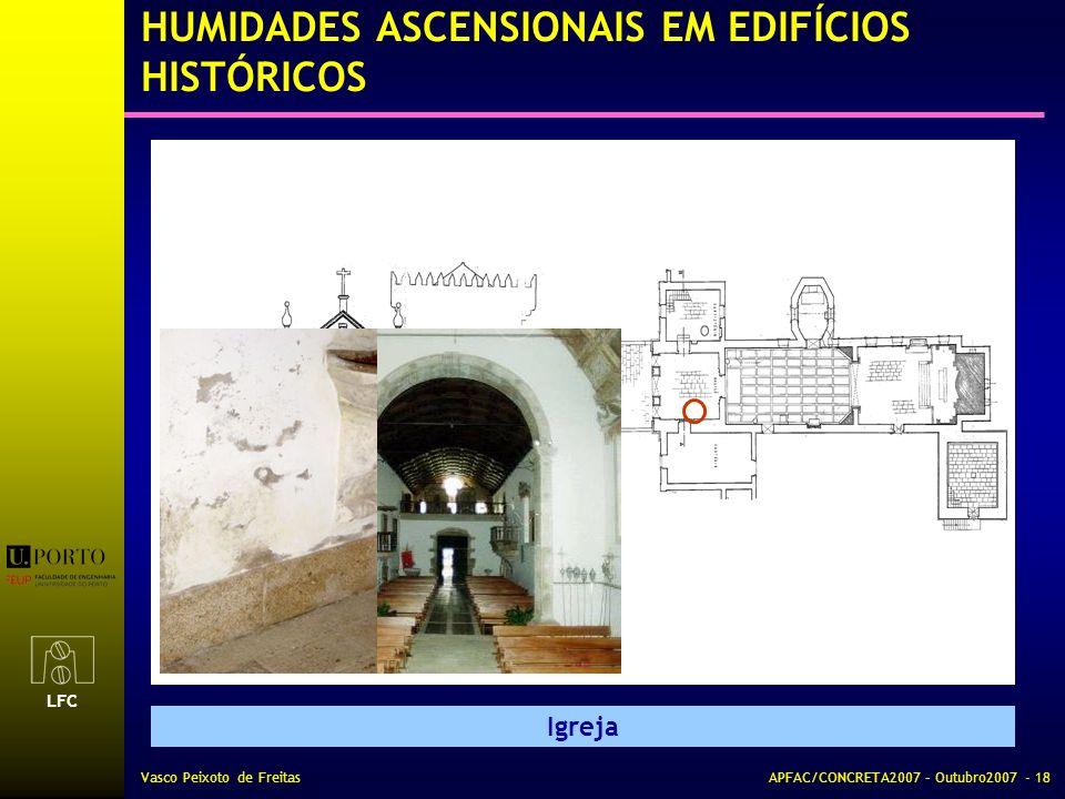 LFC Vasco Peixoto de FreitasAPFAC/CONCRETA2007 – Outubro2007 - 18 HUMIDADES ASCENSIONAIS EM EDIFÍCIOS HISTÓRICOS Igreja