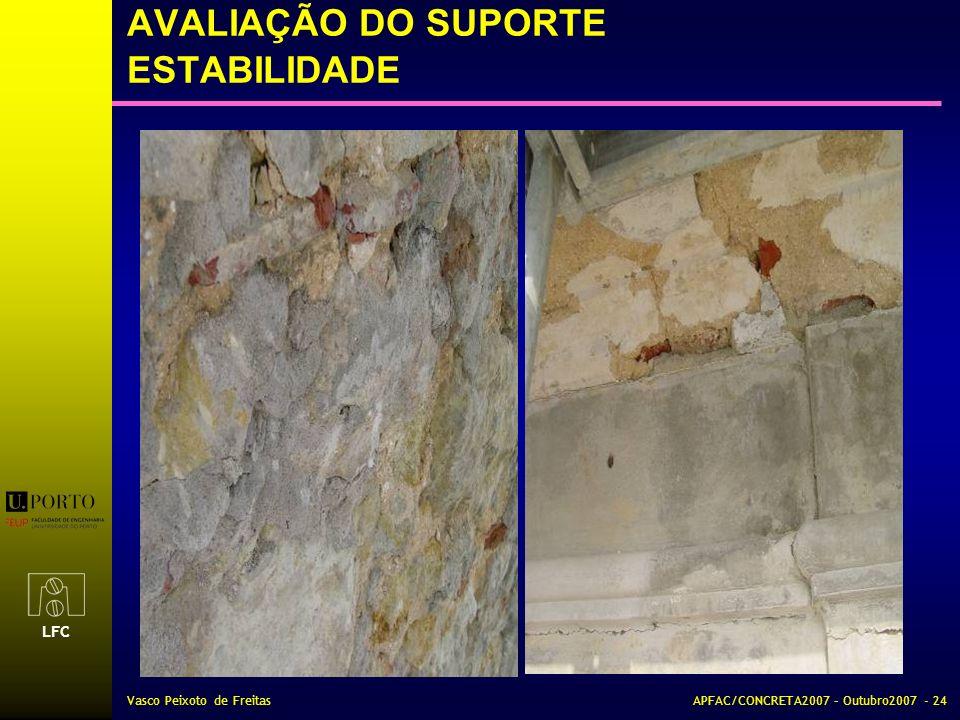 LFC Vasco Peixoto de FreitasAPFAC/CONCRETA2007 – Outubro2007 - 24 AVALIAÇÃO DO SUPORTE ESTABILIDADE