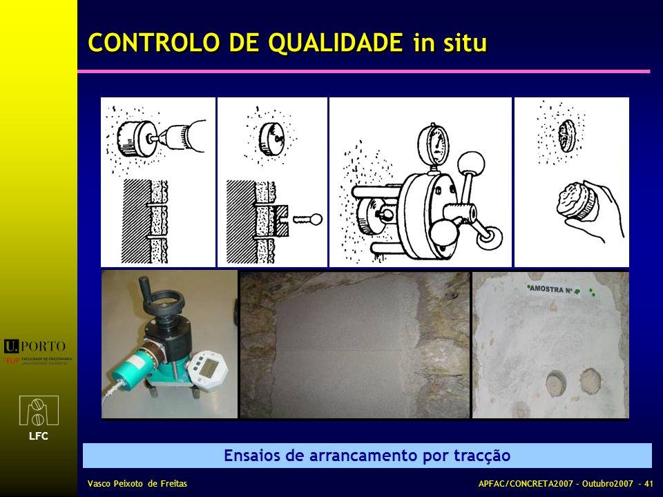 LFC Vasco Peixoto de FreitasAPFAC/CONCRETA2007 – Outubro2007 - 41 Ensaios de arrancamento por tracção CONTROLO DE QUALIDADE in situ