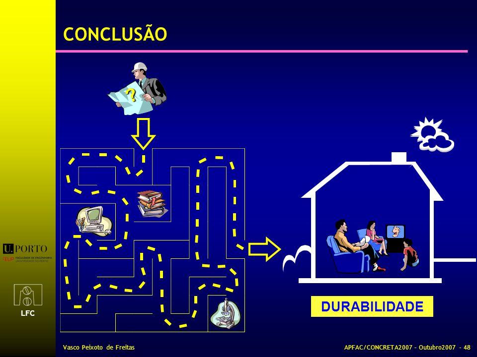 LFC Vasco Peixoto de FreitasAPFAC/CONCRETA2007 – Outubro2007 - 48 CONCLUSÃO ? DURABILIDADE