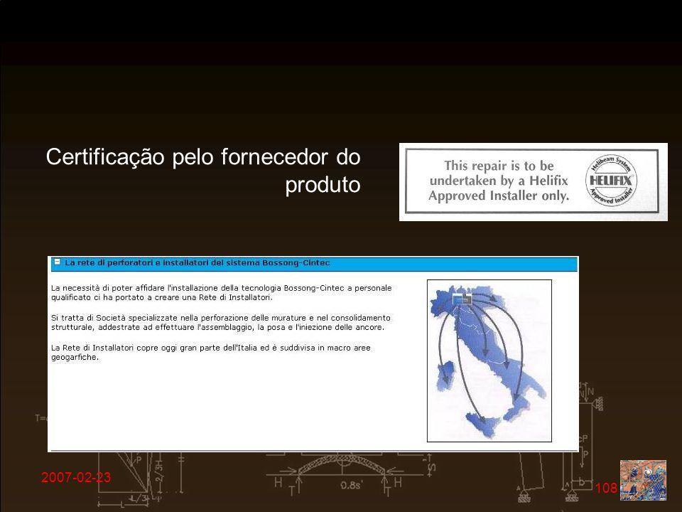 2007-02-23 108 Certificação pelo fornecedor do produto