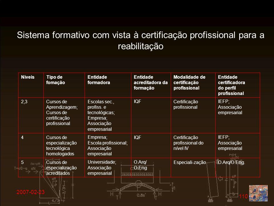 2007-02-23 110 Sistema formativo com vista à certificação profissional para a reabilitação NíveisTipo de fomação Entidade formadora Entidade acreditad