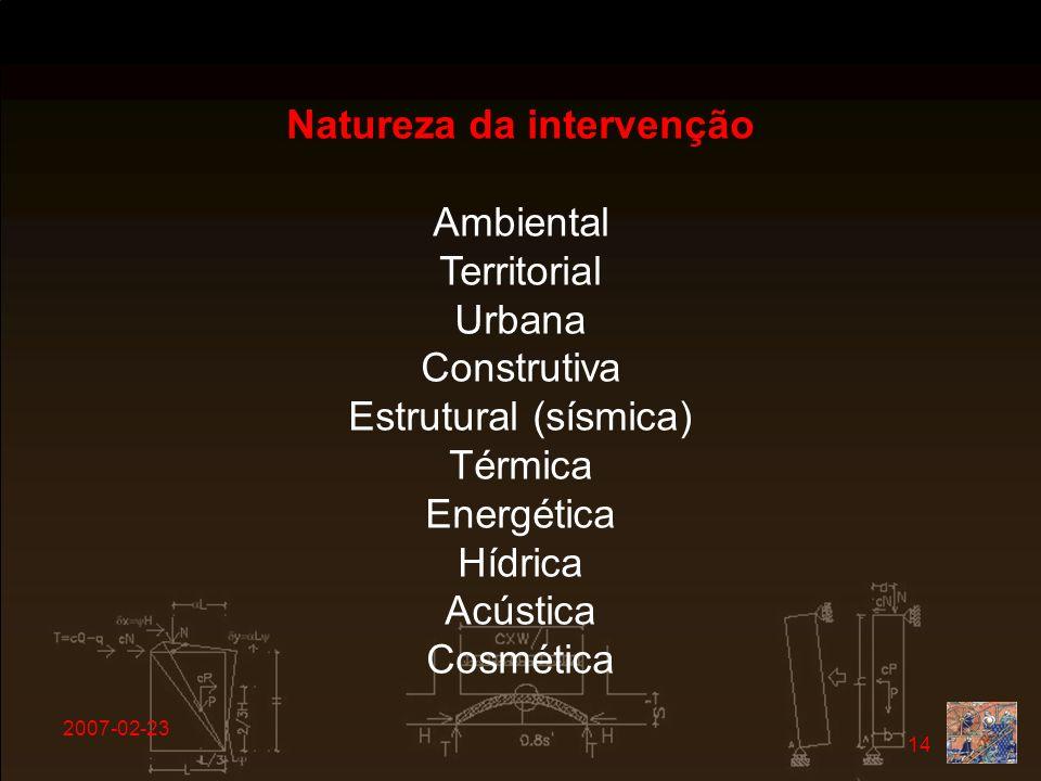 2007-02-23 14 Natureza da intervenção Ambiental Territorial Urbana Construtiva Estrutural (sísmica) Térmica Energética Hídrica Acústica Cosmética