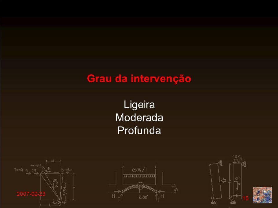 2007-02-23 15 Grau da intervenção Ligeira Moderada Profunda